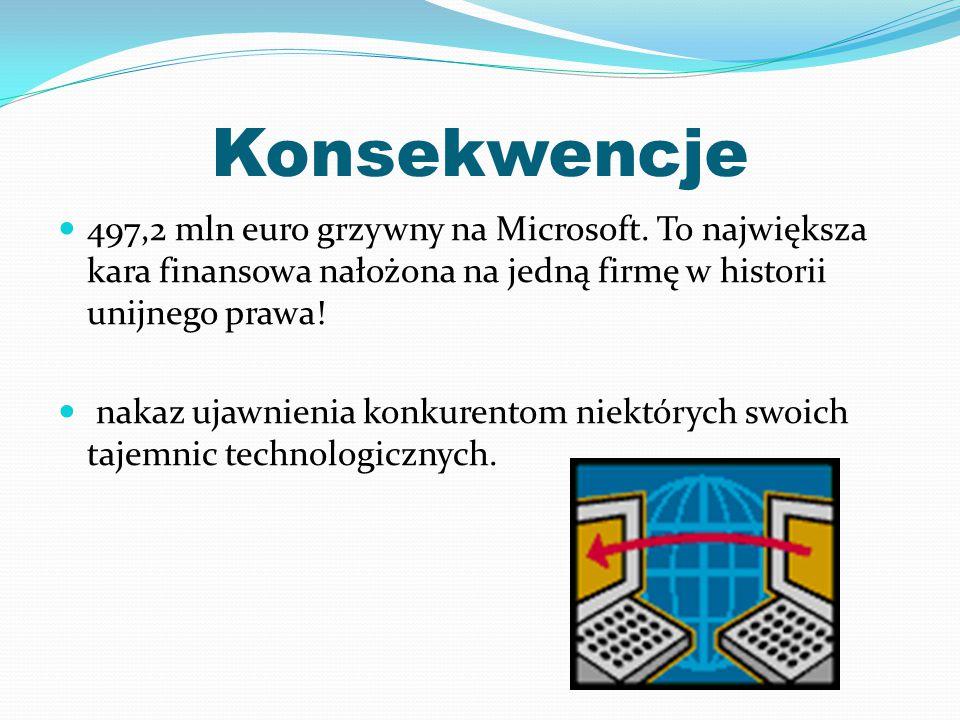 Konsekwencje 497,2 mln euro grzywny na Microsoft. To największa kara finansowa nałożona na jedną firmę w historii unijnego prawa! nakaz ujawnienia kon