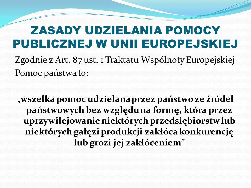 """ZASADY UDZIELANIA POMOCY PUBLICZNEJ W UNII EUROPEJSKIEJ Zgodnie z Art. 87 ust. 1 Traktatu Wspólnoty Europejskiej Pomoc państwa to: """"wszelka pomoc udzi"""