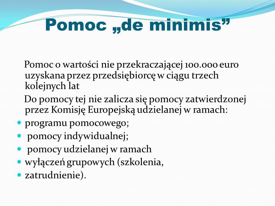 """Pomoc """"de minimis"""" Pomoc o wartości nie przekraczającej 100.000 euro uzyskana przez przedsiębiorcę w ciągu trzech kolejnych lat Do pomocy tej nie zali"""