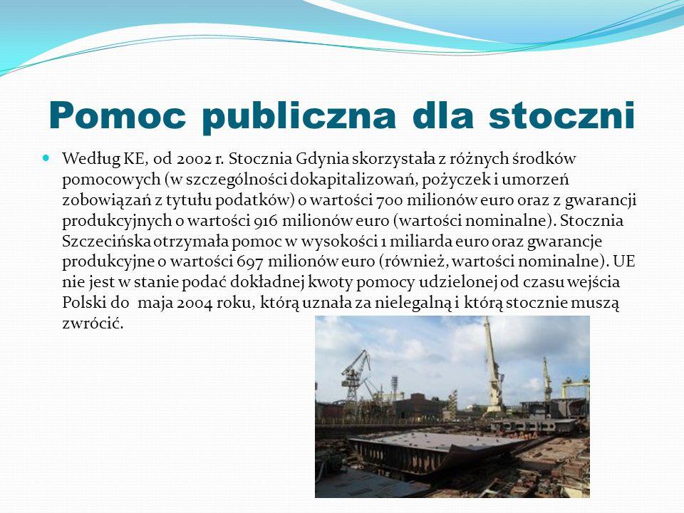 Pomoc publiczna dla stoczni Według KE, od 2002 r. Stocznia Gdynia skorzystała z różnych środków pomocowych (w szczególności dokapitalizowań, pożyczek