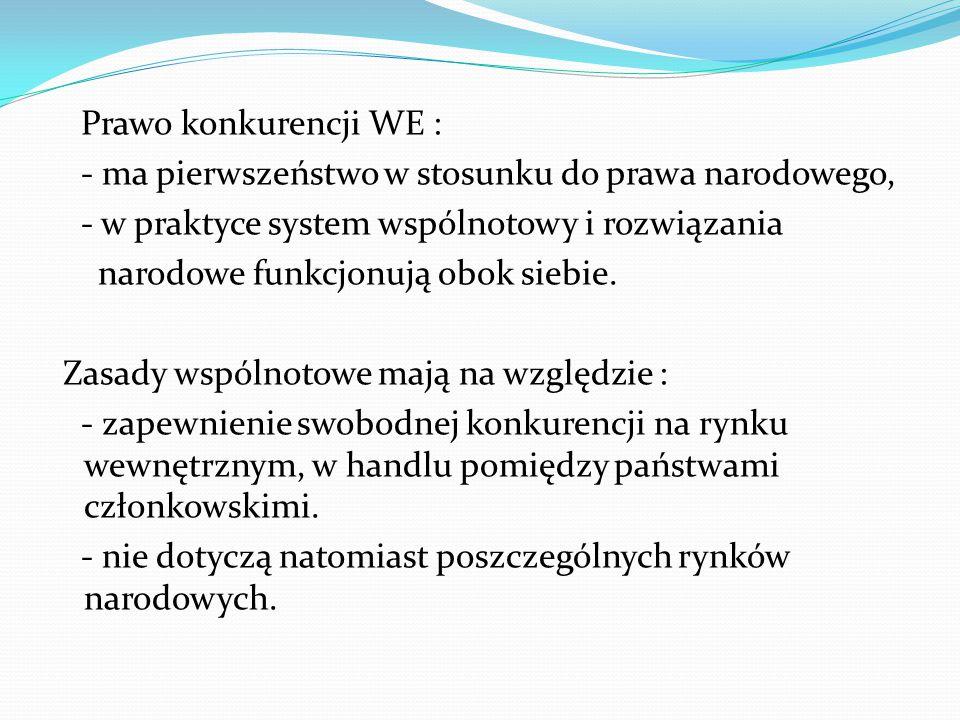 Prawo konkurencji WE : - ma pierwszeństwo w stosunku do prawa narodowego, - w praktyce system wspólnotowy i rozwiązania narodowe funkcjonują obok sieb