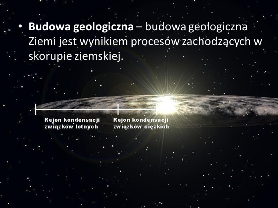 Budowa geologiczna – budowa geologiczna Ziemi jest wynikiem procesów zachodzących w skorupie ziemskiej.
