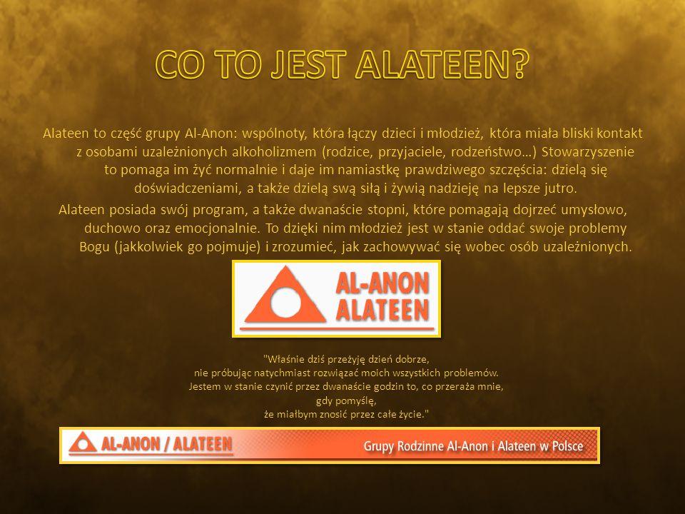 Alateen to część grupy Al-Anon: wspólnoty, która łączy dzieci i młodzież, która miała bliski kontakt z osobami uzależnionych alkoholizmem (rodzice, przyjaciele, rodzeństwo…) Stowarzyszenie to pomaga im żyć normalnie i daje im namiastkę prawdziwego szczęścia: dzielą się doświadczeniami, a także dzielą swą siłą i żywią nadzieję na lepsze jutro.