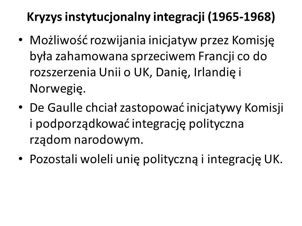 Kryzys instytucjonalny integracji (1965-1968) Możliwość rozwijania inicjatyw przez Komisję była zahamowana sprzeciwem Francji co do rozszerzenia Unii
