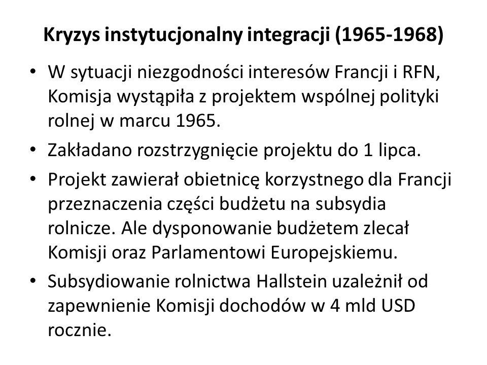 Kryzys instytucjonalny integracji (1965-1968) W sytuacji niezgodności interesów Francji i RFN, Komisja wystąpiła z projektem wspólnej polityki rolnej