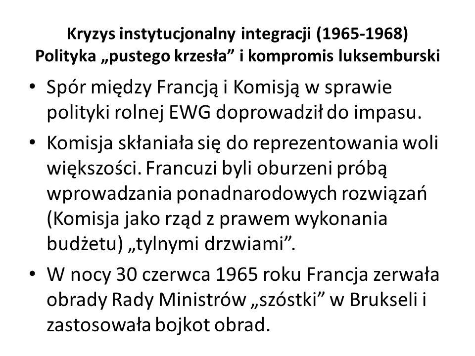 """Kryzys instytucjonalny integracji (1965-1968) Polityka """"pustego krzesła"""" i kompromis luksemburski Spór między Francją i Komisją w sprawie polityki rol"""