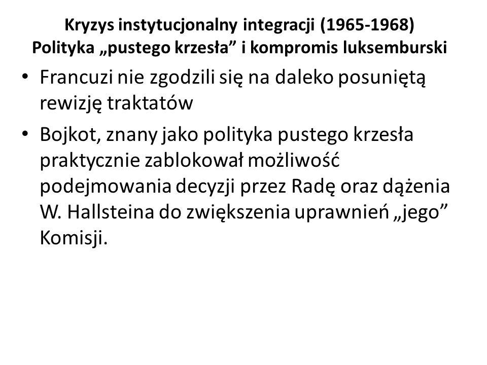 """Kryzys instytucjonalny integracji (1965-1968) Polityka """"pustego krzesła"""" i kompromis luksemburski Francuzi nie zgodzili się na daleko posuniętą rewizj"""
