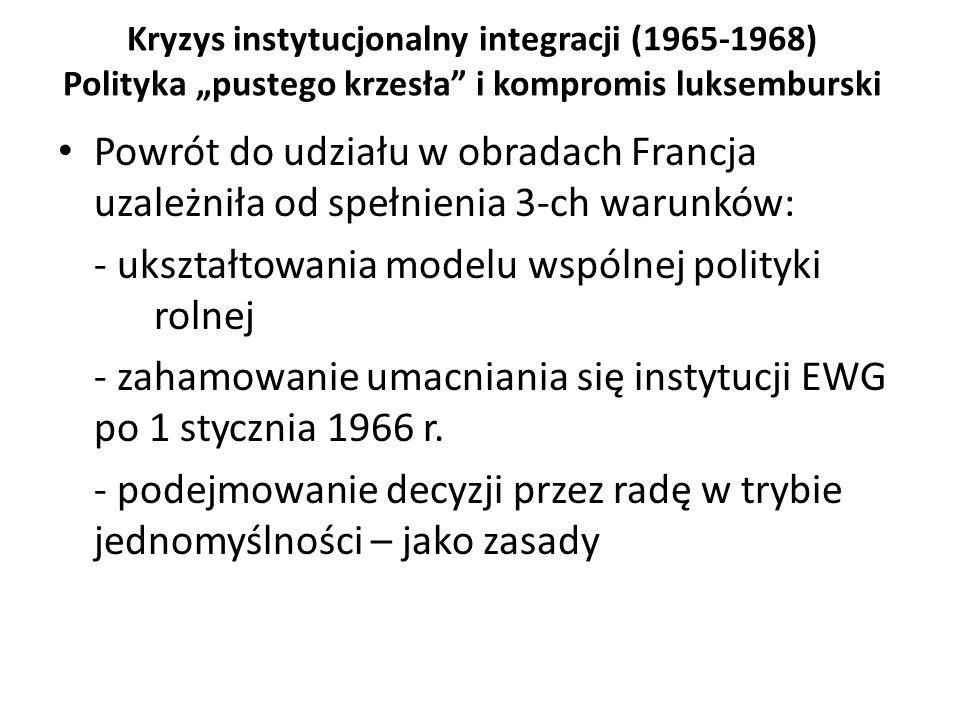 """Kryzys instytucjonalny integracji (1965-1968) Polityka """"pustego krzesła"""" i kompromis luksemburski Powrót do udziału w obradach Francja uzależniła od s"""