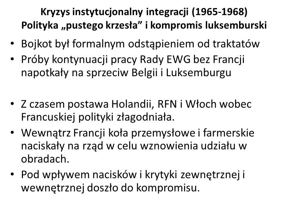 """Kryzys instytucjonalny integracji (1965-1968) Polityka """"pustego krzesła"""" i kompromis luksemburski Bojkot był formalnym odstąpieniem od traktatów Próby"""