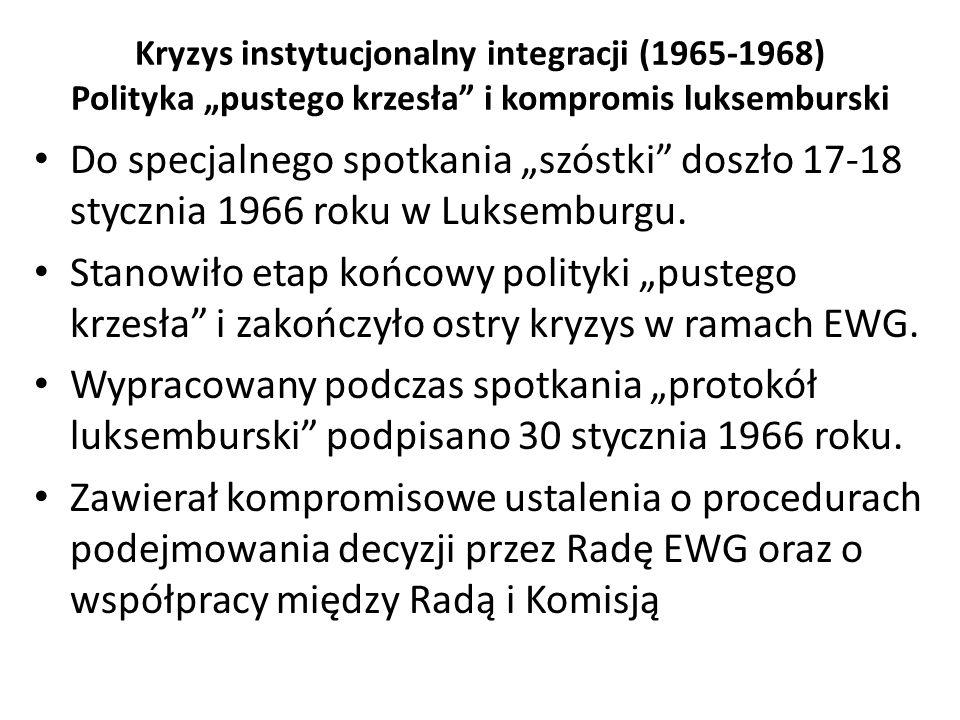 """Kryzys instytucjonalny integracji (1965-1968) Polityka """"pustego krzesła"""" i kompromis luksemburski Do specjalnego spotkania """"szóstki"""" doszło 17-18 styc"""