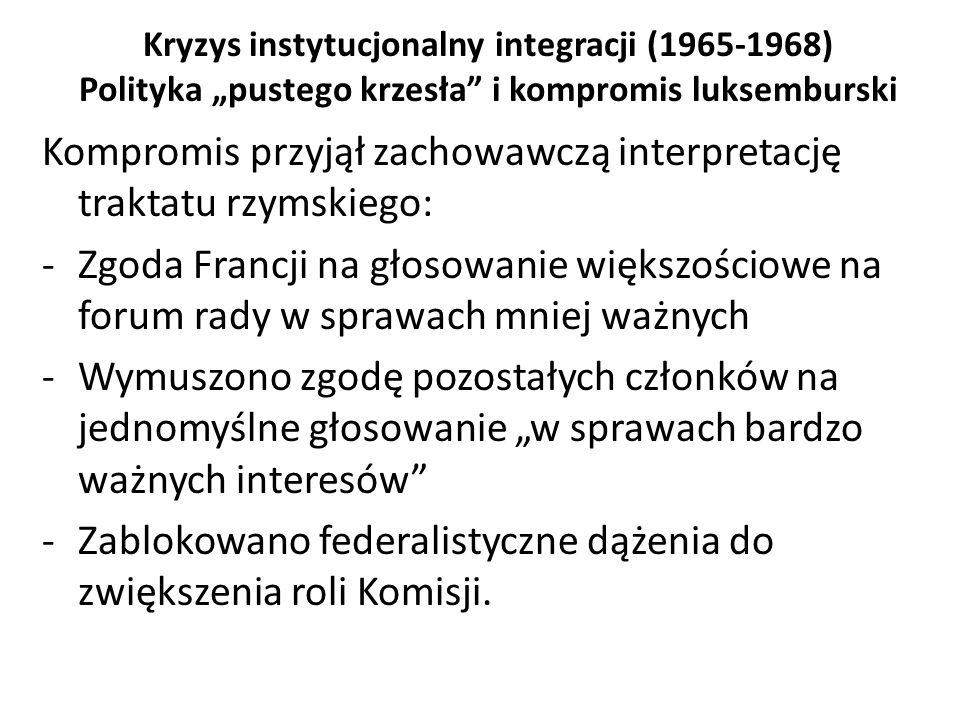 """Kryzys instytucjonalny integracji (1965-1968) Polityka """"pustego krzesła"""" i kompromis luksemburski Kompromis przyjął zachowawczą interpretację traktatu"""