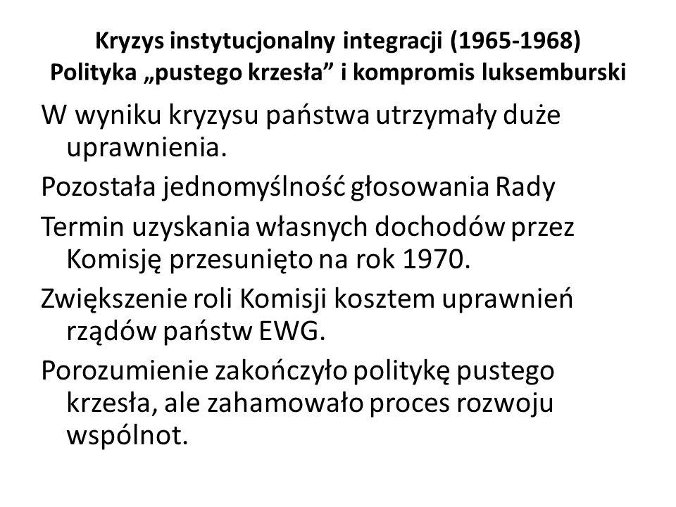 """Kryzys instytucjonalny integracji (1965-1968) Polityka """"pustego krzesła"""" i kompromis luksemburski W wyniku kryzysu państwa utrzymały duże uprawnienia."""