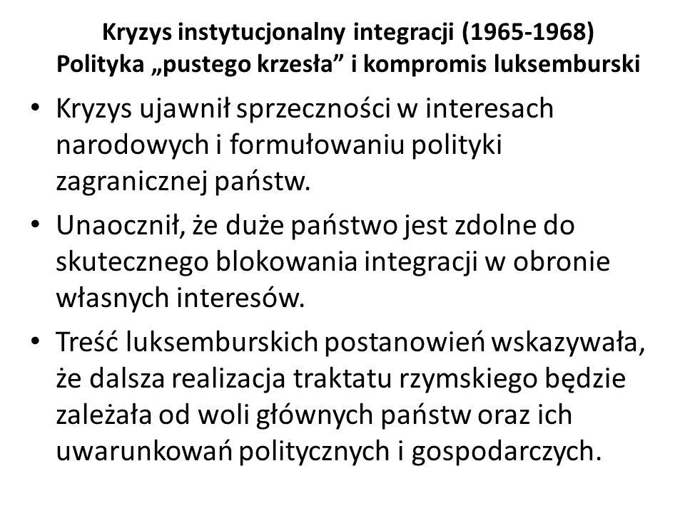 """Kryzys instytucjonalny integracji (1965-1968) Polityka """"pustego krzesła"""" i kompromis luksemburski Kryzys ujawnił sprzeczności w interesach narodowych"""