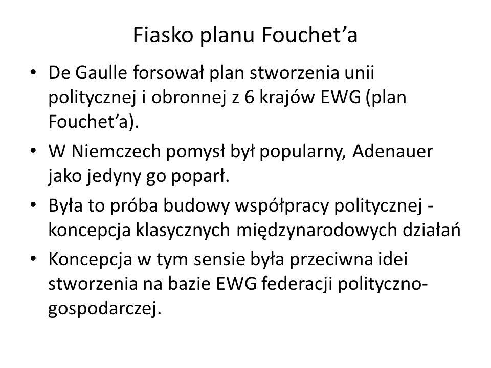 Fiasko planu Fouchet'a De Gaulle forsował plan stworzenia unii politycznej i obronnej z 6 krajów EWG (plan Fouchet'a). W Niemczech pomysł był popularn