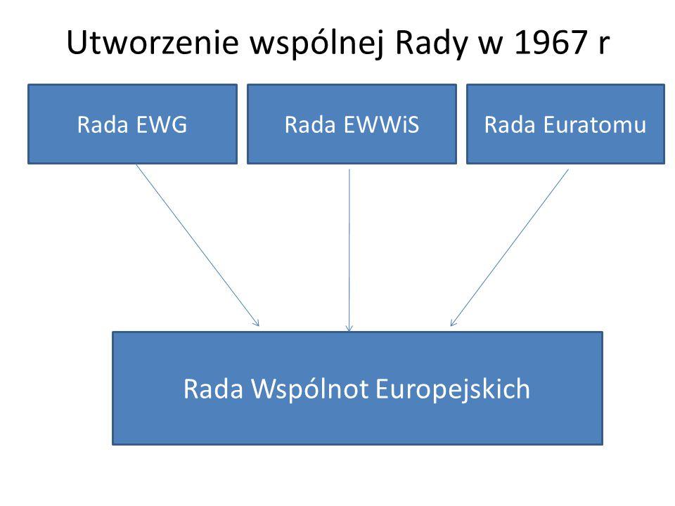 Utworzenie wspólnej Rady w 1967 r Rada EWGRada EWWiSRada Euratomu Rada Wspólnot Europejskich