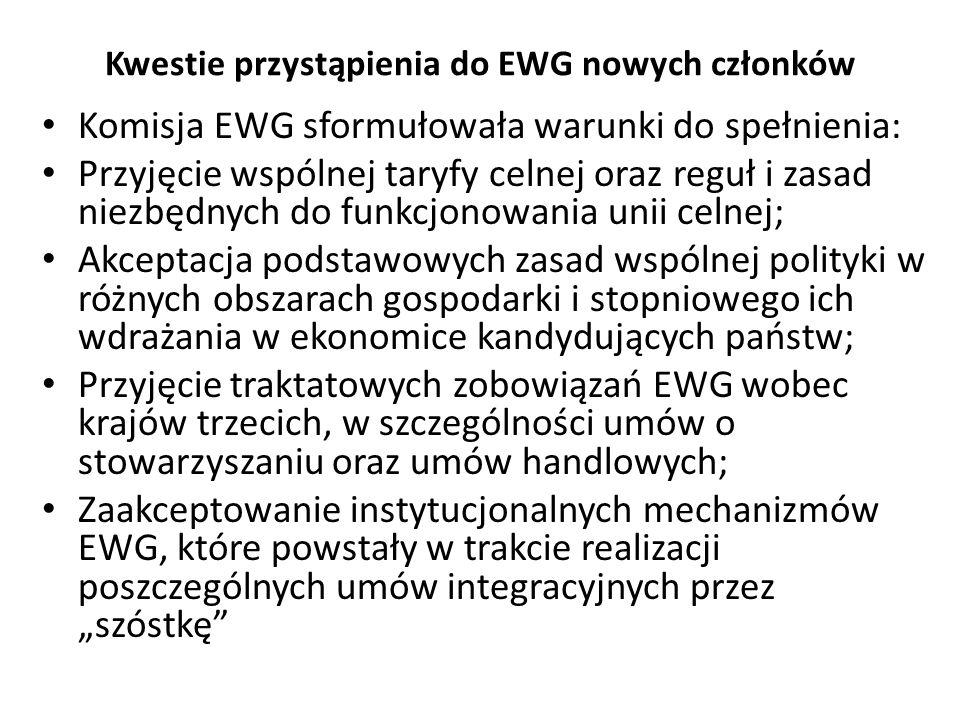 Kwestie przystąpienia do EWG nowych członków Komisja EWG sformułowała warunki do spełnienia: Przyjęcie wspólnej taryfy celnej oraz reguł i zasad niezb