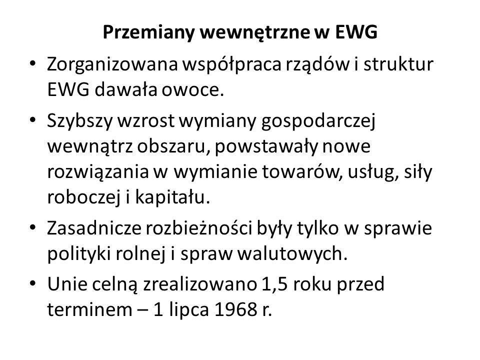 Przemiany wewnętrzne w EWG Zorganizowana współpraca rządów i struktur EWG dawała owoce. Szybszy wzrost wymiany gospodarczej wewnątrz obszaru, powstawa
