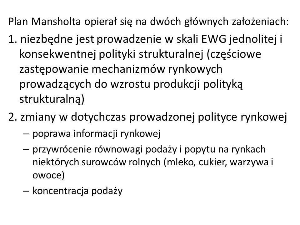 Plan Mansholta opierał się na dwóch głównych założeniach: 1. niezbędne jest prowadzenie w skali EWG jednolitej i konsekwentnej polityki strukturalnej