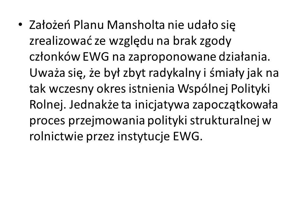 Założeń Planu Mansholta nie udało się zrealizować ze względu na brak zgody członków EWG na zaproponowane działania. Uważa się, że był zbyt radykalny i