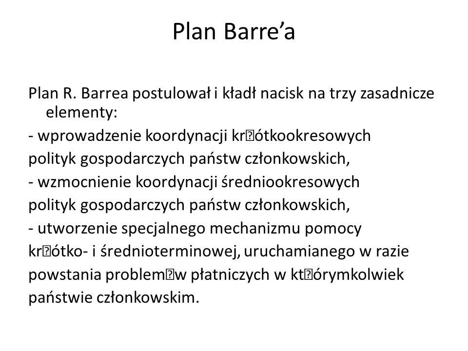 Plan Barre'a Plan R. Barrea postulował i kładł nacisk na trzy zasadnicze elementy: - wprowadzenie koordynacji kr—ótkookresowych polityk gospodarczych