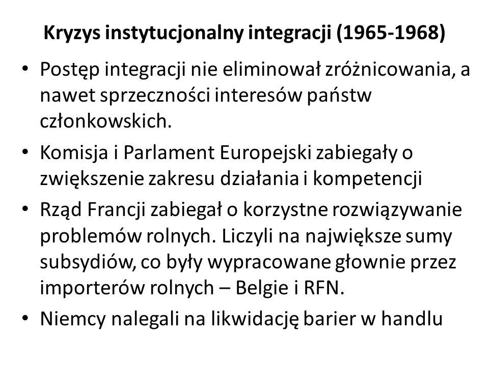 Kryzys instytucjonalny integracji (1965-1968) Postęp integracji nie eliminował zróżnicowania, a nawet sprzeczności interesów państw członkowskich. Kom