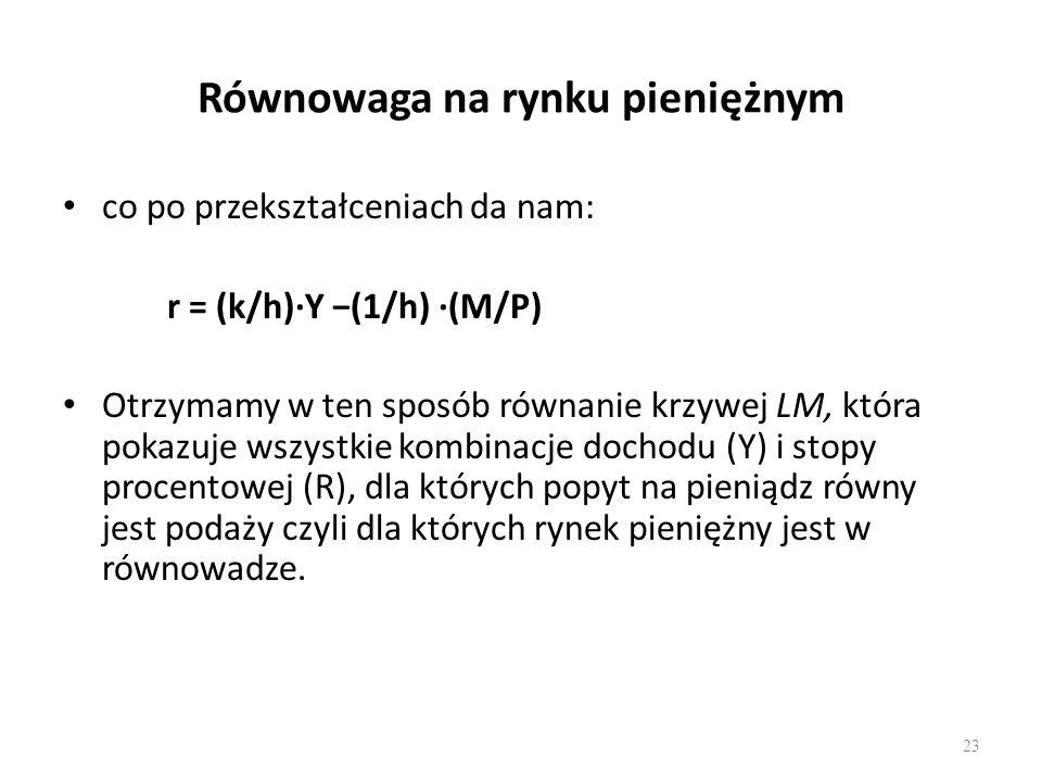 23 Równowaga na rynku pieniężnym co po przekształceniach da nam: r = (k/h)∙Y −(1/h) ∙(M/P) Otrzymamy w ten sposób równanie krzywej LM, która pokazuje