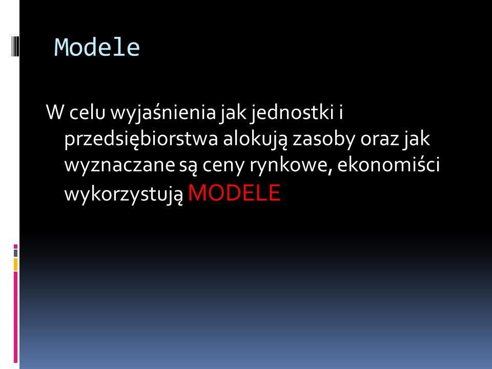 Modele W celu wyjaśnienia jak jednostki i przedsiębiorstwa alokują zasoby oraz jak wyznaczane są ceny rynkowe, ekonomiści wykorzystują MODELE