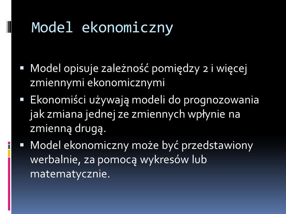 Model ekonomiczny  Model opisuje zależność pomiędzy 2 i więcej zmiennymi ekonomicznymi  Ekonomiści używają modeli do prognozowania jak zmiana jednej