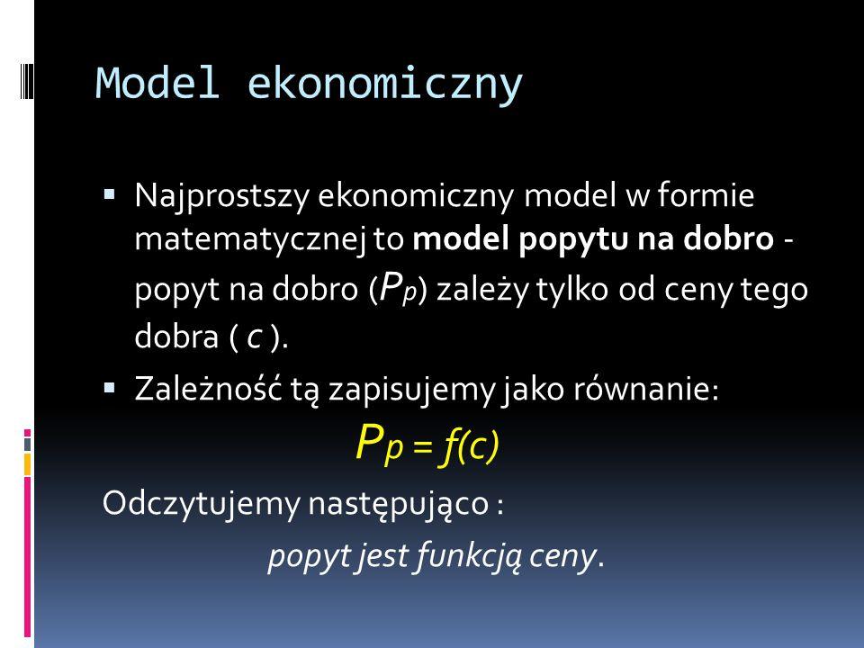 Model ekonomiczny  Najprostszy ekonomiczny model w formie matematycznej to model popytu na dobro - popyt na dobro ( P p ) zależy tylko od ceny tego d