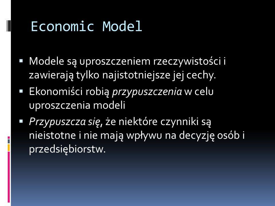 Economic Model  Modele są uproszczeniem rzeczywistości i zawierają tylko najistotniejsze jej cechy.  Ekonomiści robią przypuszczenia w celu uproszcz