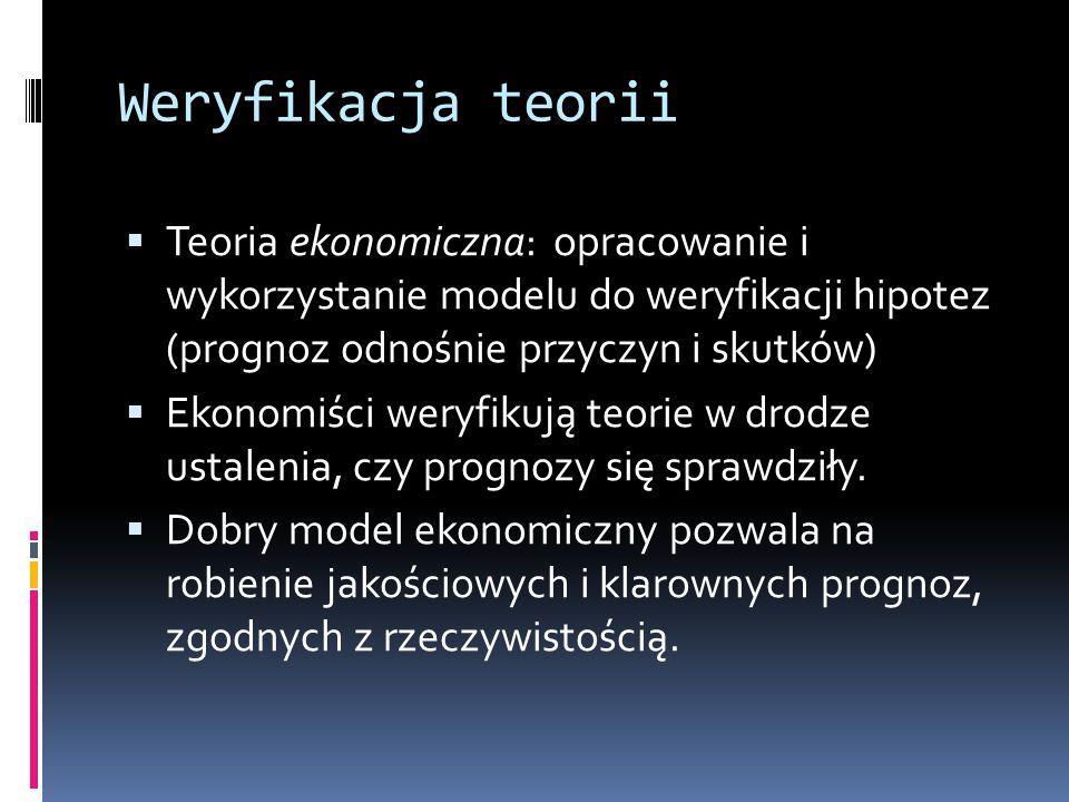 Weryfikacja teorii  Teoria ekonomiczna: opracowanie i wykorzystanie modelu do weryfikacji hipotez (prognoz odnośnie przyczyn i skutków)  Ekonomiści