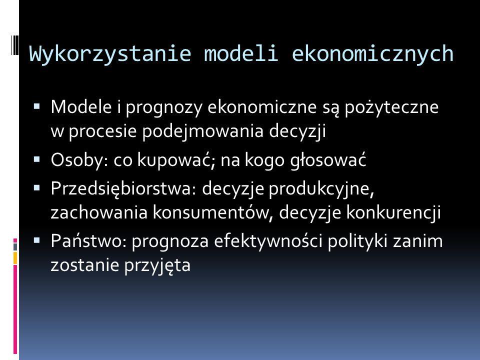 Wykorzystanie modeli ekonomicznych  Modele i prognozy ekonomiczne są pożyteczne w procesie podejmowania decyzji  Osoby: co kupować; na kogo głosować