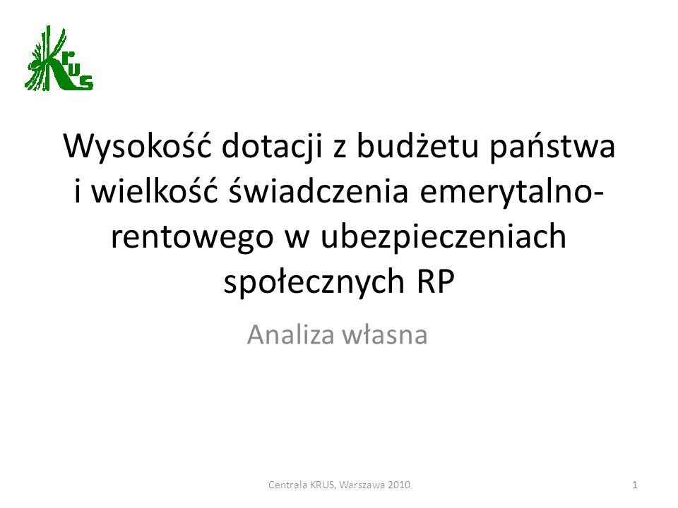 Wysokość dotacji z budżetu państwa i wielkość świadczenia emerytalno- rentowego w ubezpieczeniach społecznych RP Analiza własna Centrala KRUS, Warszawa 20101
