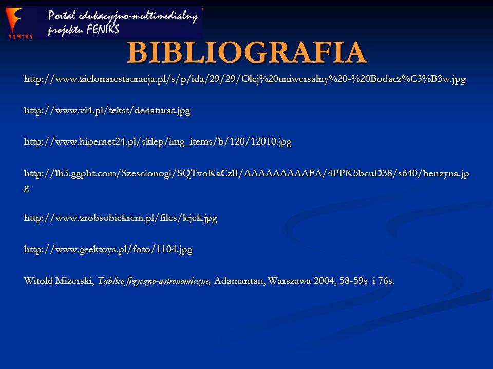 BIBLIOGRAFIA http://www.zielonarestauracja.pl/s/p/ida/29/29/Olej%20uniwersalny%20-%20Bodacz%C3%B3w.jpghttp://www.vi4.pl/tekst/denaturat.jpghttp://www.