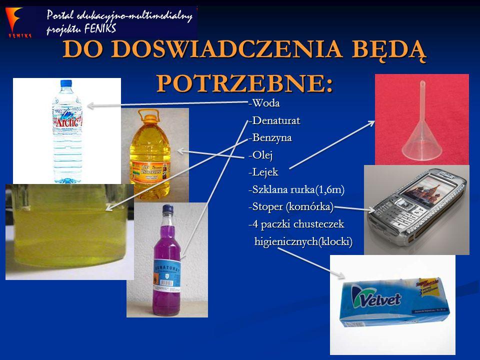 DO DOŚWIADCZENIA BĘDĄ POTRZEBNE : -Woda -Denaturat -Benzyna -Olej -Lejek -Szklana rurka(1,6m) -Stoper (komórka) -4 paczki chusteczek higienicznych(klo