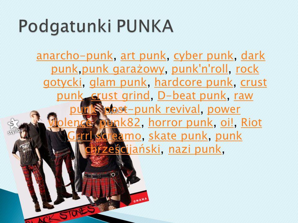 anarcho-punkanarcho-punk, art punk, cyber punk, dark punk,punk garażowy, punk'n'roll, rock gotycki, glam punk, hardcore punk, crust punk, crust grind,