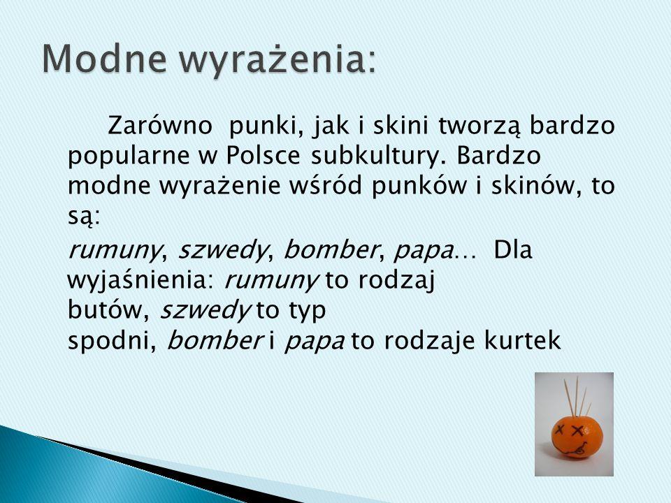 Zarówno punki, jak i skini tworzą bardzo popularne w Polsce subkultury. Bardzo modne wyrażenie wśród punków i skinów, to są: rumuny, szwedy, bomber, p