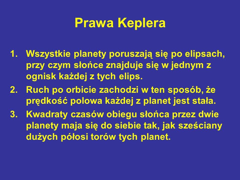 Prawa Keplera 1.Wszystkie planety poruszają się po elipsach, przy czym słońce znajduje się w jednym z ognisk każdej z tych elips. 2.Ruch po orbicie za
