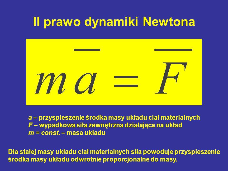 II prawo dynamiki Newtona a – przyspieszenie środka masy układu ciał materialnych F – wypadkowa siła zewnętrzna działająca na układ m = const. – masa