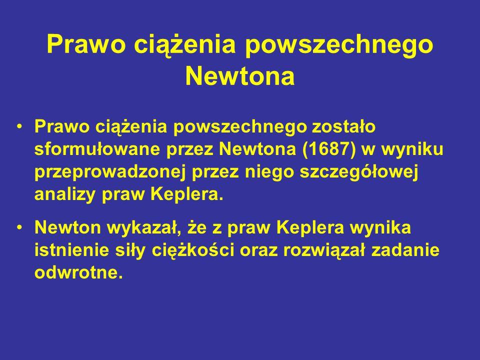 Prawo ciążenia powszechnego Newtona Prawo ciążenia powszechnego zostało sformułowane przez Newtona (1687) w wyniku przeprowadzonej przez niego szczegó