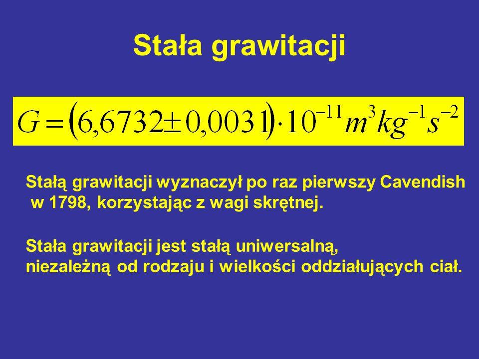 Stała grawitacji Stała grawitacji jest stałą uniwersalną, niezależną od rodzaju i wielkości oddziałujących ciał. Stałą grawitacji wyznaczył po raz pie