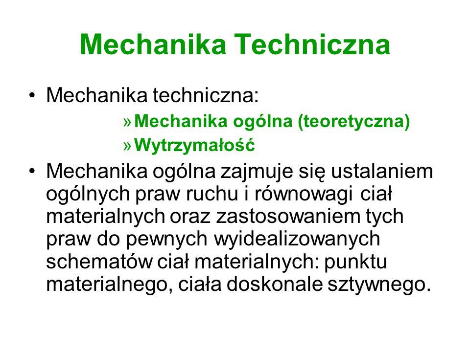 Mechanika Techniczna Mechanika techniczna: »Mechanika ogólna (teoretyczna) »Wytrzymałość Mechanika ogólna zajmuje się ustalaniem ogólnych praw ruchu i