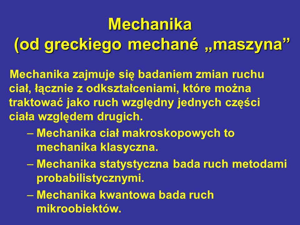 """Mechanika (od greckiego mechané """"maszyna"""" Mechanika zajmuje się badaniem zmian ruchu ciał, łącznie z odkształceniami, które można traktować jako ruch"""
