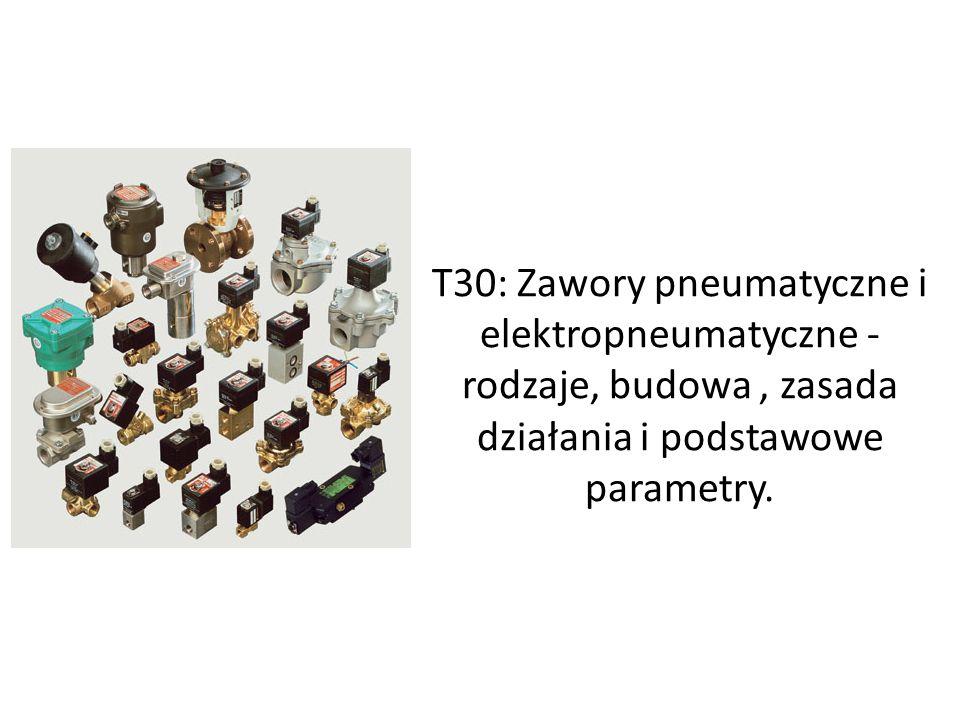T30: Zawory pneumatyczne i elektropneumatyczne - rodzaje, budowa, zasada działania i podstawowe parametry.