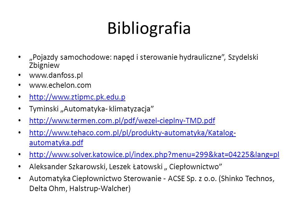 """Bibliografia """"Pojazdy samochodowe: napęd i sterowanie hydrauliczne"""", Szydelski Zbigniew www.danfoss.pl www.echelon.com http://www.ztipmc.pk.edu.p Tymi"""