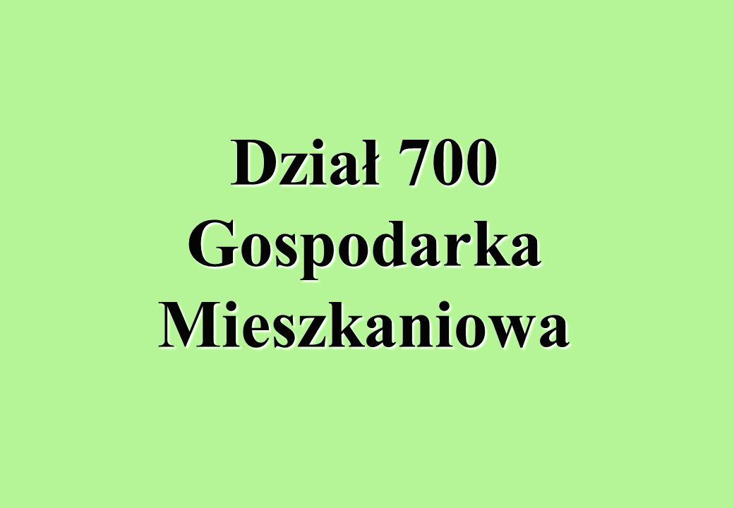 Dział 700 Gospodarka Mieszkaniowa