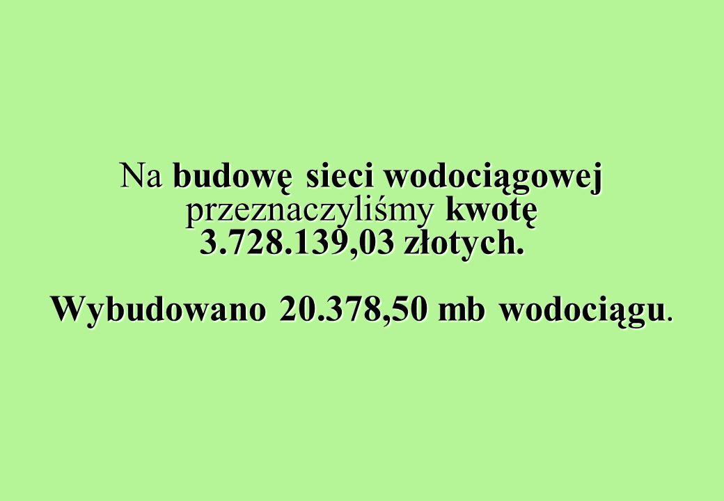 Na budowę sieci wodociągowej przeznaczyliśmy kwotę 3.728.139,03 złotych.