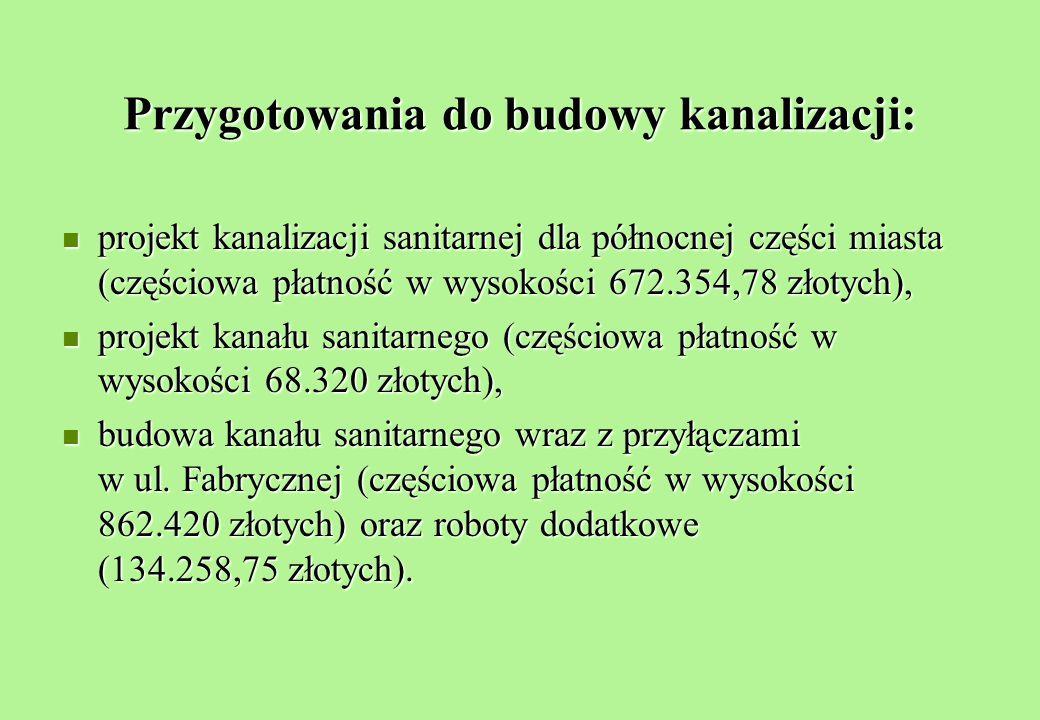 Przygotowania do budowy kanalizacji: projekt kanalizacji sanitarnej dla północnej części miasta (częściowa płatność w wysokości 672.354,78 złotych), projekt kanalizacji sanitarnej dla północnej części miasta (częściowa płatność w wysokości 672.354,78 złotych), projekt kanału sanitarnego (częściowa płatność w wysokości 68.320 złotych), projekt kanału sanitarnego (częściowa płatność w wysokości 68.320 złotych), budowa kanału sanitarnego wraz z przyłączami w ul.