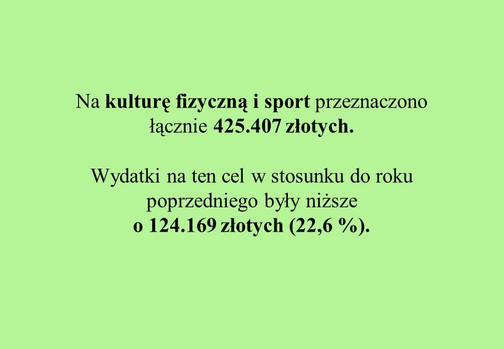 Na kulturę fizyczną i sport przeznaczono łącznie 425.407 złotych.