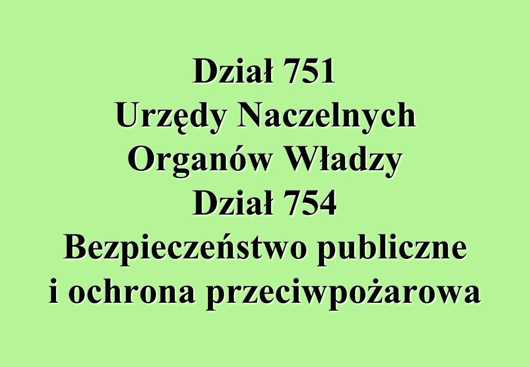Dział 751 Urzędy Naczelnych Organów Władzy Dział 754 Bezpieczeństwo publiczne i ochrona przeciwpożarowa